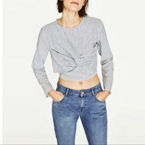 Zara Basic Blue/White Striped 3/4 Sleeve Crop Top